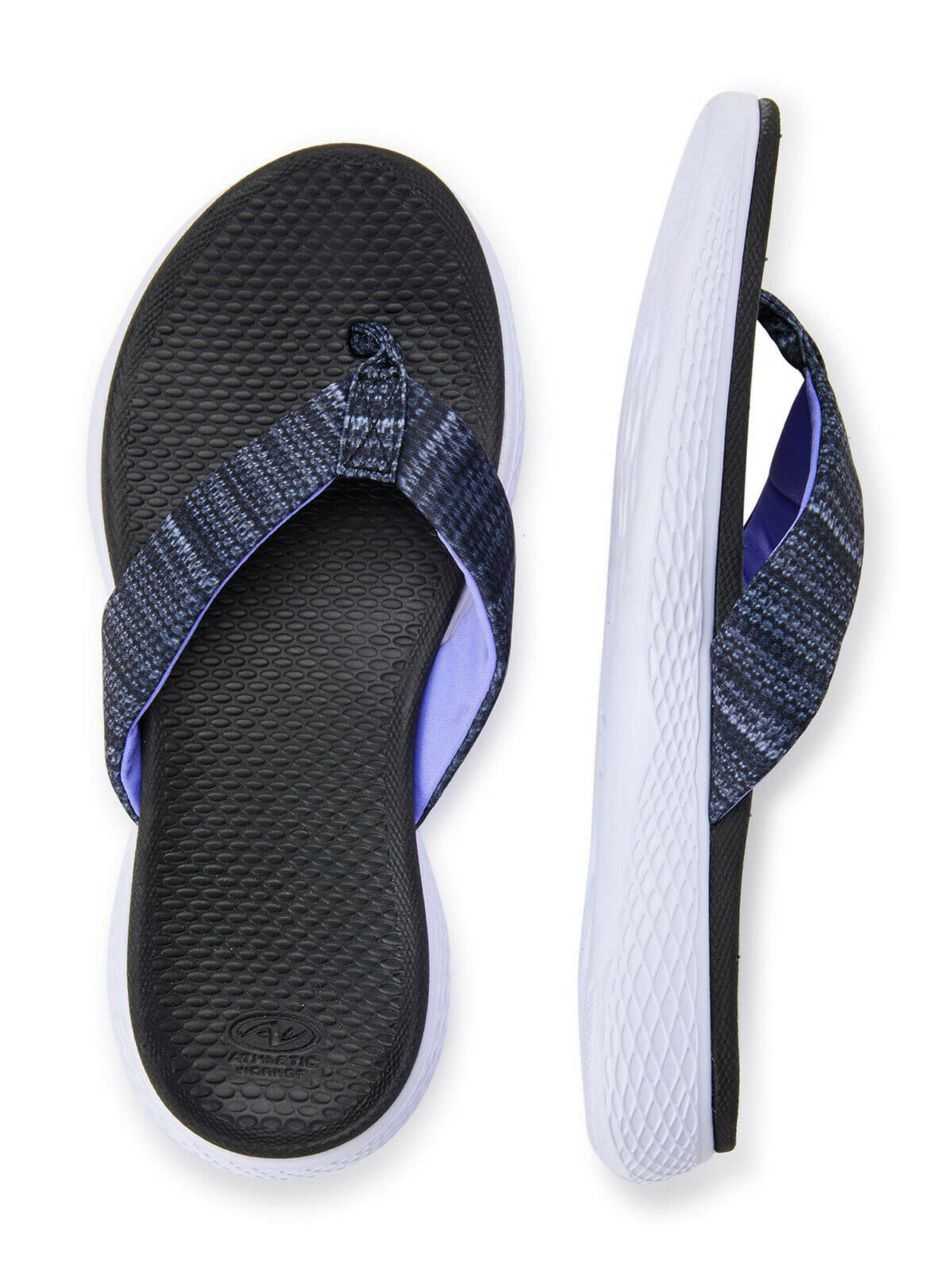 **NEW WOMENS ATHLETIC WORKS CUSHIONED FOOTBED BEACHWEAR BLACK FLIP FLOPS SANDALS Clothing, Shoes & Accessories