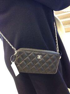 Auth BNIB Chanel CC WOC Double Zip Black Lambskin Wallet On A Chain Bag 2017