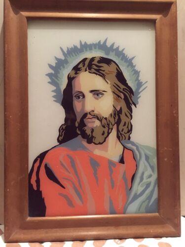 Vecchio Quadretto Pittura Su Lastra Di Vetro Raffigurante Il Volto Di Gesù