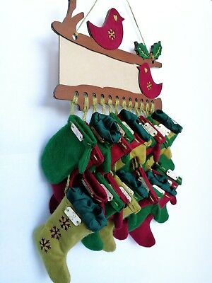 Handmade PERSONALIZED ADVENT CALENDAR Christmas Stockings Mittens Robins Holly