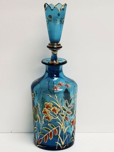 Vintage MOSER Numbered Hand Painted Enamel Blue Glass Decanter Bottle w/ Stopper