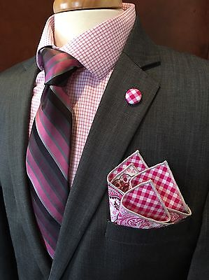 NEW Pocket Square Paisley Floral Lapel Pin Pink Checks Reversible Gift Set Trim