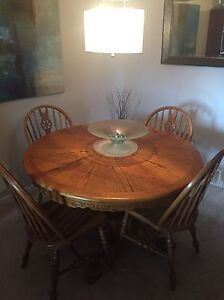 Oak Dining Set and Curio Cabinet