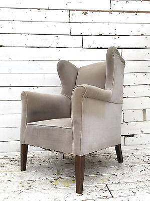 Antique Edwardian French Salon Wing Back Chair Rustic Library Porters Armchair