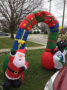 Huge SANTA& FROSTY ARCHWAY Christmas Inflatable- 9 ft tall