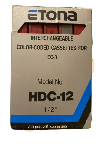 Etona Staples Interchangeable Color Coded Cassettes HDC-12 1/2 Red EC-3 Itoya - $17.99