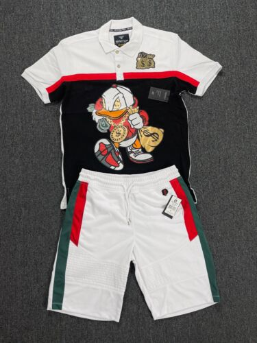 Mens 2-Piece Outfit [Gang Duck] Casual Vintage Graphic Polo Shirt+Shorts Set