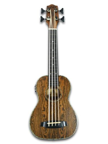 """30"""" Fretless Electric Acoustic Ukulele Bass, Butterfly wood Body Built-in Tuner"""