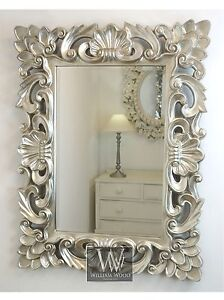Baroque Silver Vintage Rectangle Ornate Wall Mirror 42