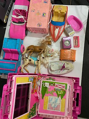 VTG Lot RARE Barbie Car Boat Jeep Horses Folding House Travel Case Accessories