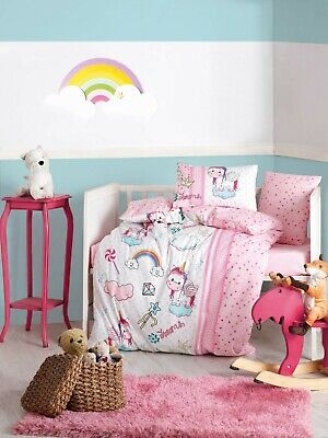 100% Cotton Unicorn Nursery Bedding Baby Duvet Cover Set Toddlers Crib Bedding