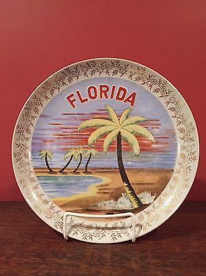Vintage Florida Souvenir State Palm Tree Plate