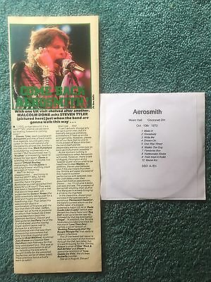 1987 Aerosmith Clipping + Free Cd Cincinnati OH 1973