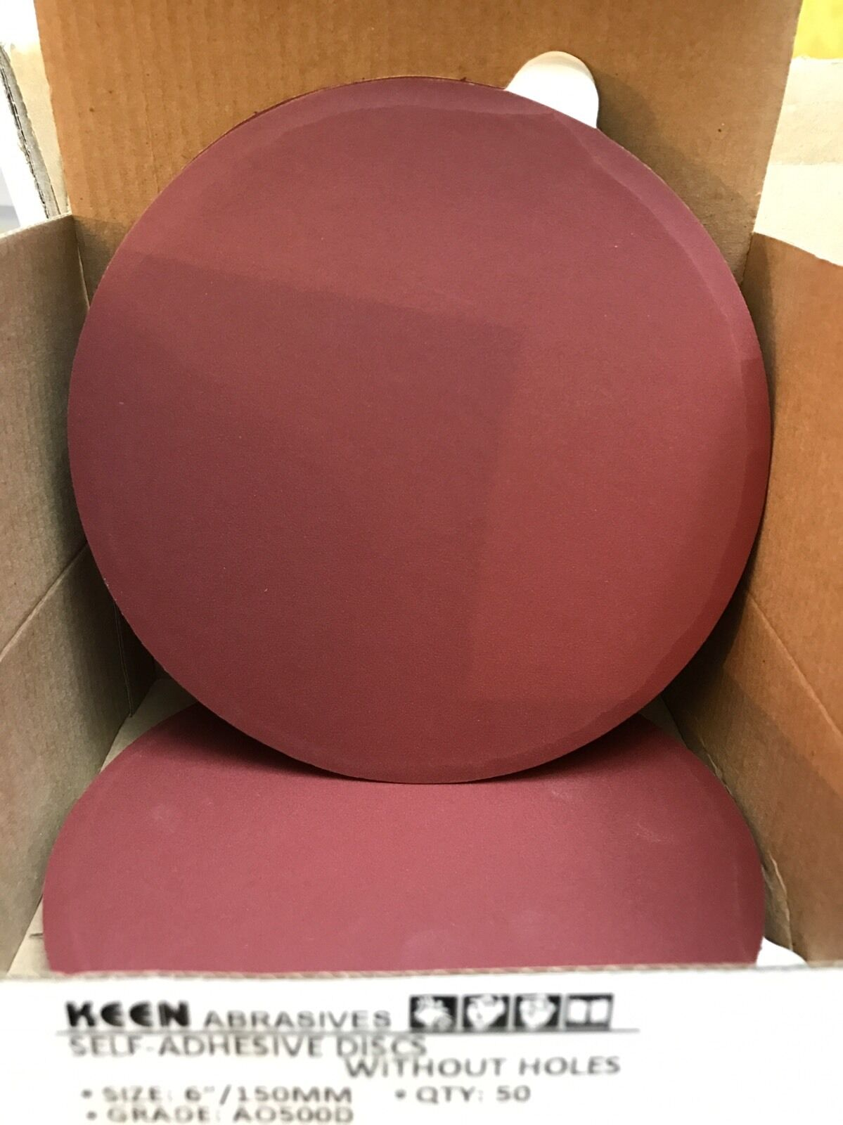 """Box of 50- 500 Grit 6"""" PSA sticky wet dry sandpaper sanding disc KEEN #36253"""