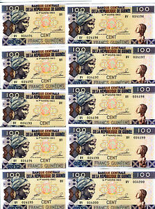 LOT-Guinea-10-x-100-Francs-2012-P-New-UNC-colorful