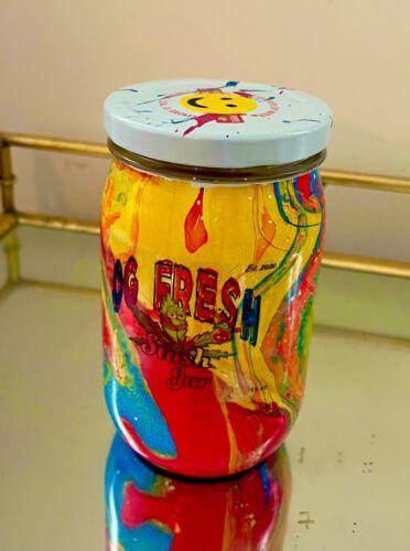 Smell Proof Glass Stash Jar 16oz Wide Mouth Hippie Jar Happy Face Twist Top