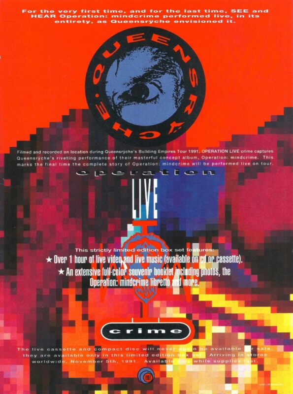 Queensryche Operation: Livecrime 1991 8x11 Promo Poster Ad