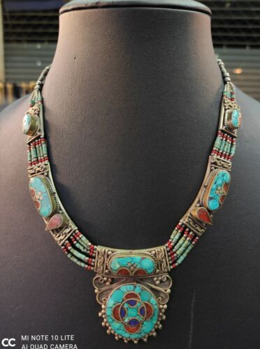 Vintage Silver Plated Turquoise Gemstone Coral And Lapis Lazuli Baho Necklace