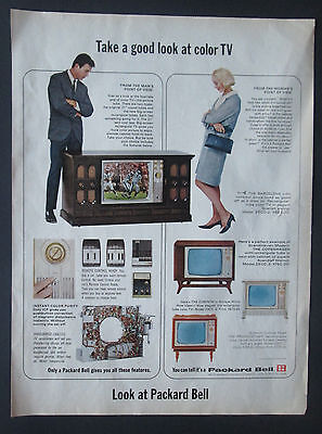 Packard Bell Color TV 1966 Original Vintage Print Ad