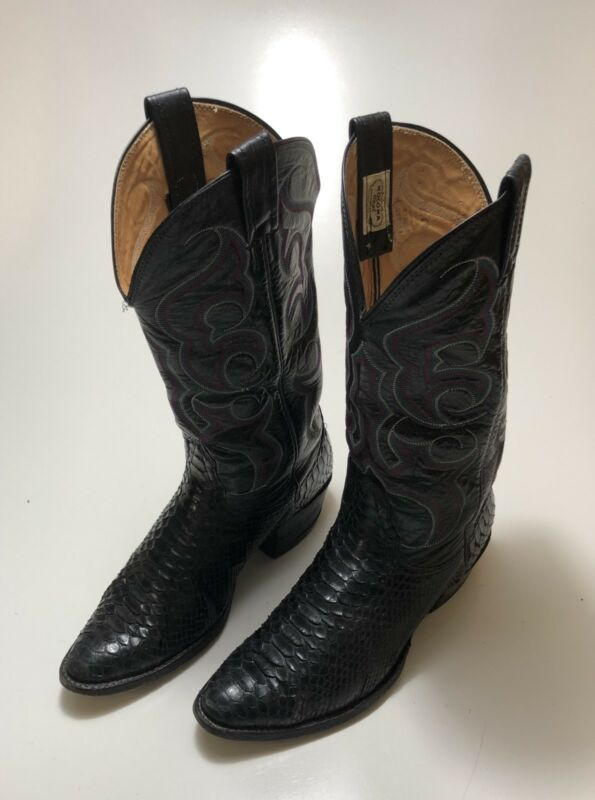 Nocona, Black, Snakeskin, Leather, Cowboy, Boots, Mens, Size, 8, D, Style, 4317C, USA