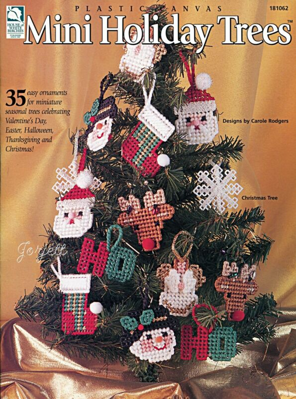 Mini Holiday Trees, 35 Christmas & Holiday Ornaments plastic canvas pattern book