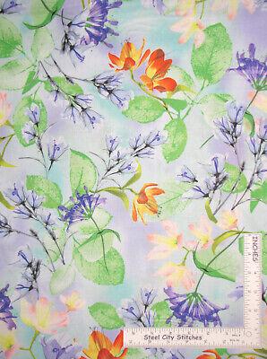 - Floral Flowers Purple Orange Green Garden Cotton Fabric QT Belle By The Yard