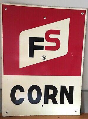 VINTAGE Farm FS CORN Store Sign ADVERTISING GENERAL STORE Rustic on fiber board