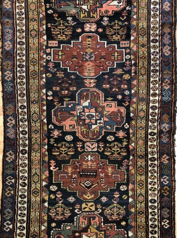 Perfect Persian - 1900s Antique Kurdish Rug - Tribal Runner - 3.9 X 12 Ft.