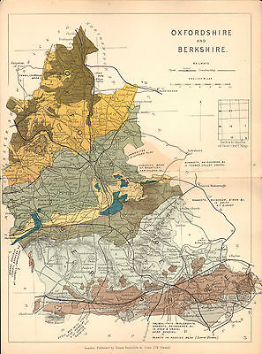 1889 HAND COLOURED GEOLOGICAL MAP OXFORDSHIRE & BERKSHIRE ~ RAILWAYS FOSSILS