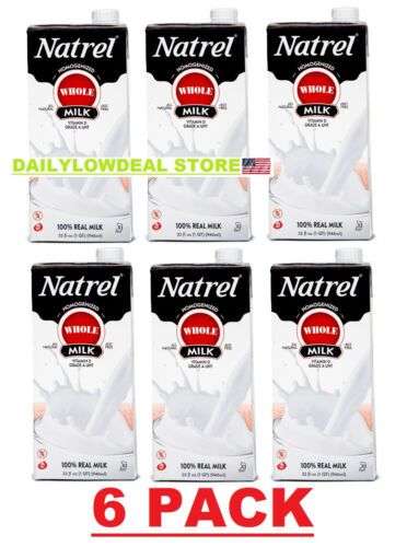 Natrel Whole Milk, 32 fl oz, TOTAL 6 PACK! FRESH NEW STOCK + FAST SHIPPING!