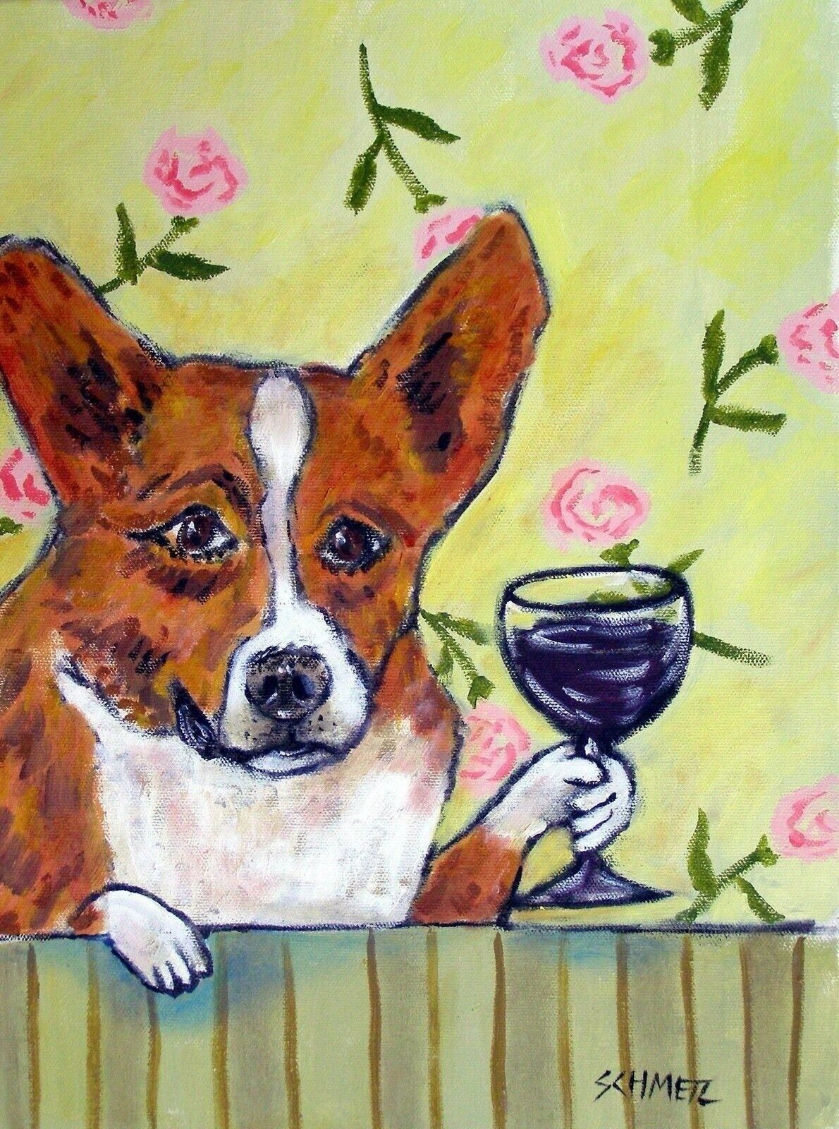 Basenji wine  art PRINT artist 8x10 animals impressionism gift new