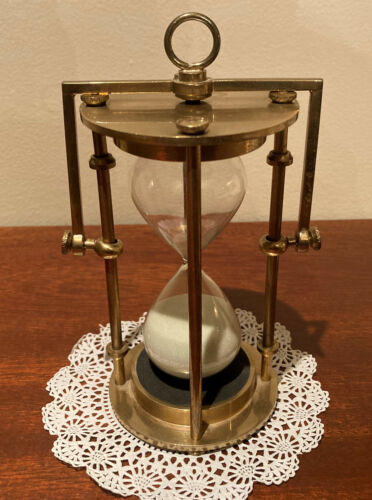 Vintage Brass Hanging Hourglass Timer - VG Condition