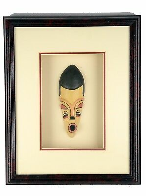 African Mask African Shadow Box (OLD WOODEN AFRICAN TRIBAL MASK IN FRAME PICTURE WALL DECORATIVE Shadow Box  )