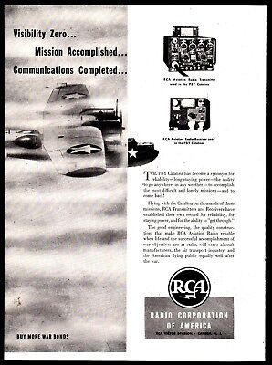 1943 Wwii Consolidated Pby Catalina Aircraft Rca Aviation Communications Ad