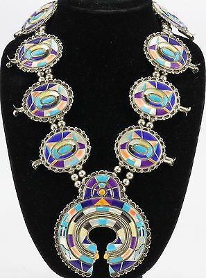 Zuni Silver Snake Rainbow Dance Inlaid Sterling Silver Squash Blossom Necklace
