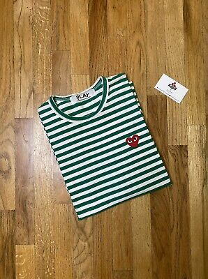 Comme des Garçons Play Long Sleeve Striped Heart Shirt Medium Authentic
