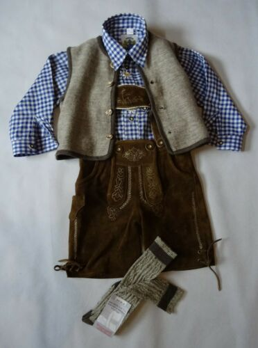 German Austrian  Boys Brown 4 pc. Lederhosen Outfit 5-6 years