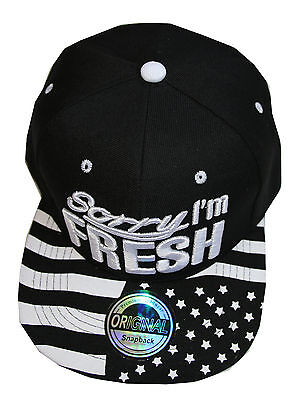 Acryl White Star (Black White Stars Sorry I am Fresh Snapback Cap basecap )