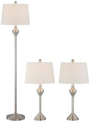 Cottage Brushed Steel 3-Piece Floor & Table Lamp Set Tapered