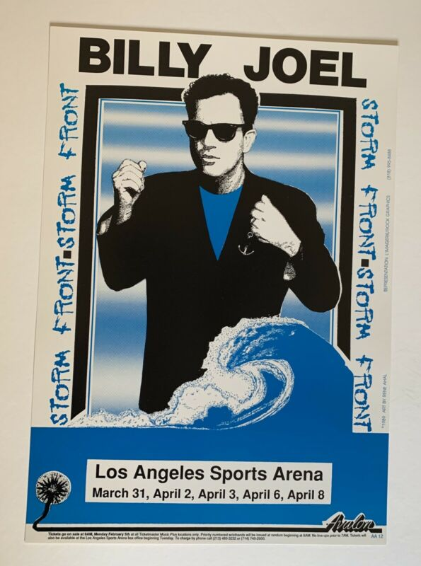 1989 Billy Joel Storm Front Original Concert Poster