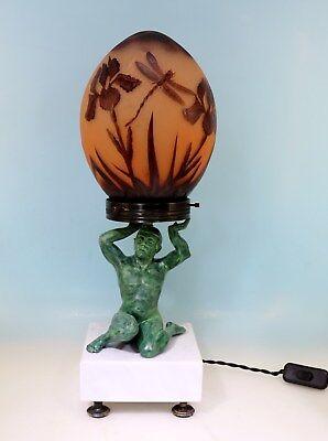 Art Deco Lampe Atlas Cameo Schirm geätztes Dragon Fly Dekor - 17423 -
