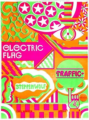 Steppenwolf  Traffic  Electric Flag  Original 1968 Vintage Day-Glow Silk-Screen