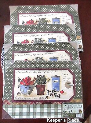 Studio 18 Paper Placemats 24 Count Vegetables Herbs Flower 4 Packs 6 Mats Each
