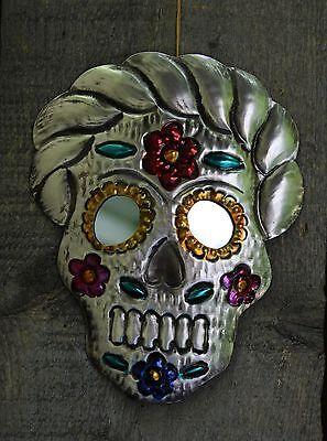 Los Muertos Frida Sugar Skull, Tin Wall Mirror Mexican Folk Art Day of the Dead