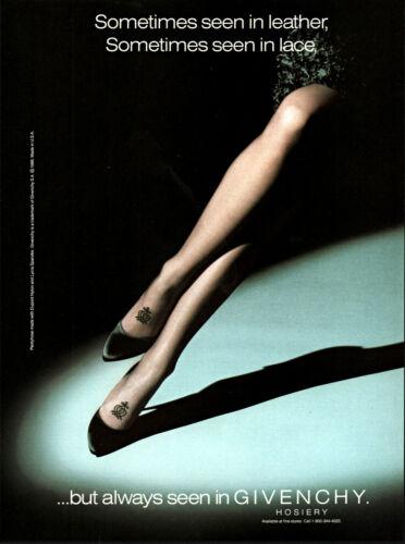 1988 Woman Legs crossed Givenchy Hosiery spotlight vintage photo print ad S5
