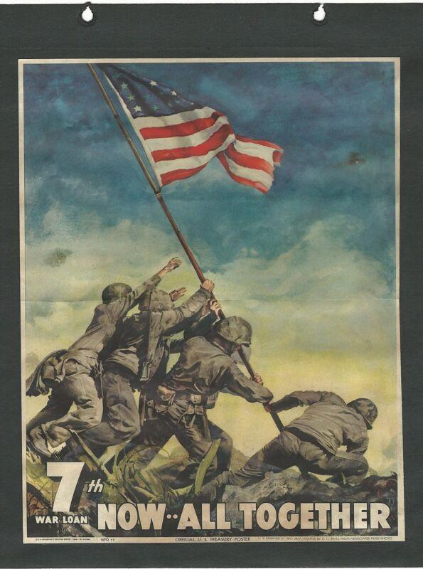 "WWII WW2 World War Two 1945 Official U.S. Treasury Iwo Jima Poster 9"" x 12 5/8"""