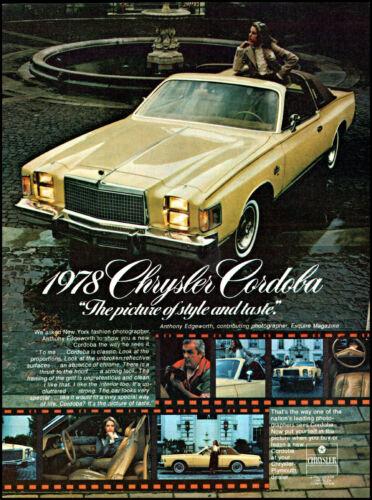 1978 Chrysler Cordova Car woman standing thru sunroof retro photo print ad ads6