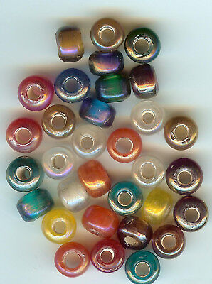 CROW/PONY GLASS BEAD - OPAQUE TRANS LUSTER -  9mm - MIX - (100)