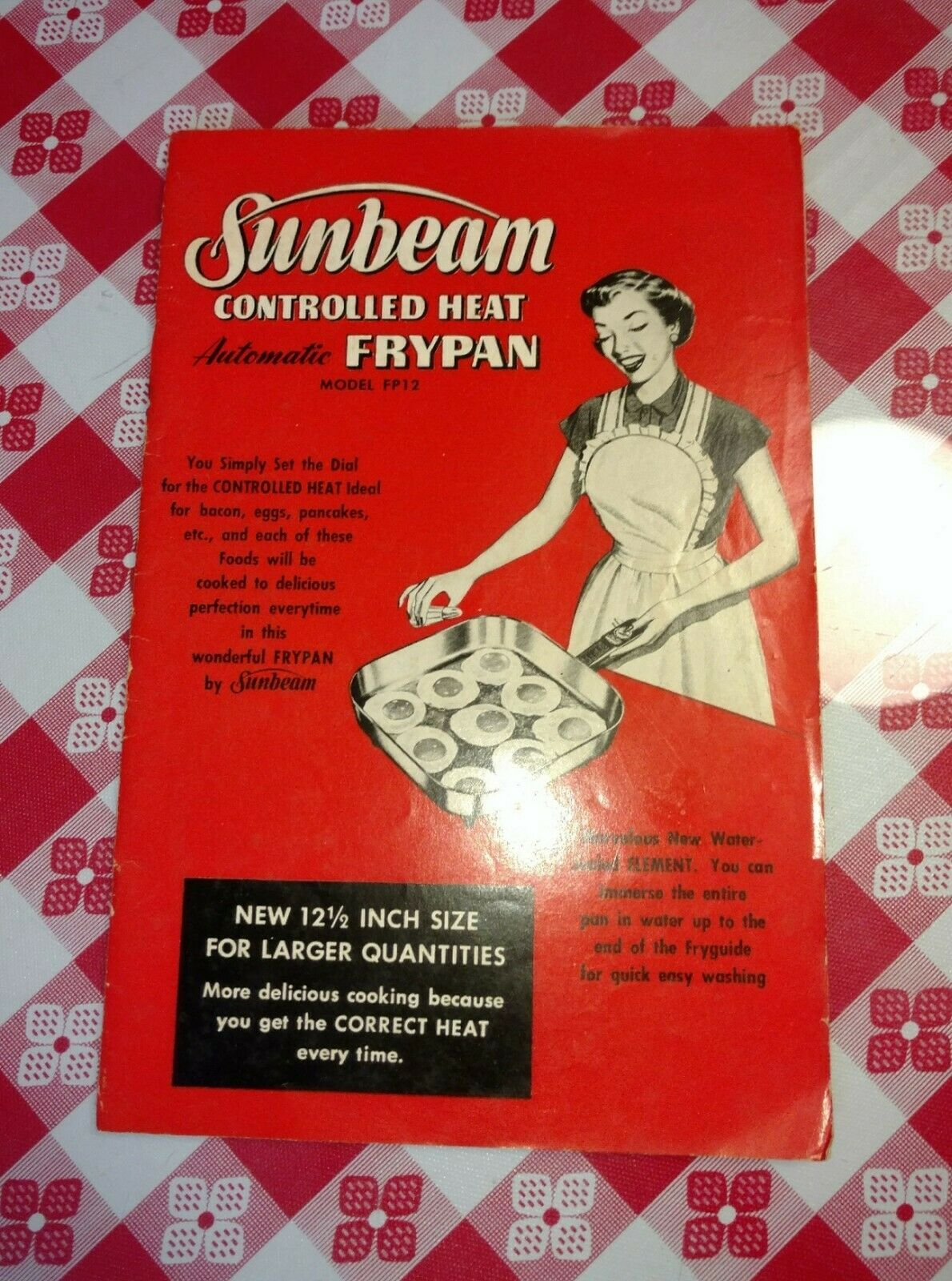 1956 Sunbeam Controlled Heat Automatic Frypan Model FP12 manual and cookbook