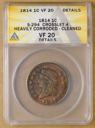 1814 Classic Head Large Cent S-294 Crosslet 4 ANACS VF 20 Details